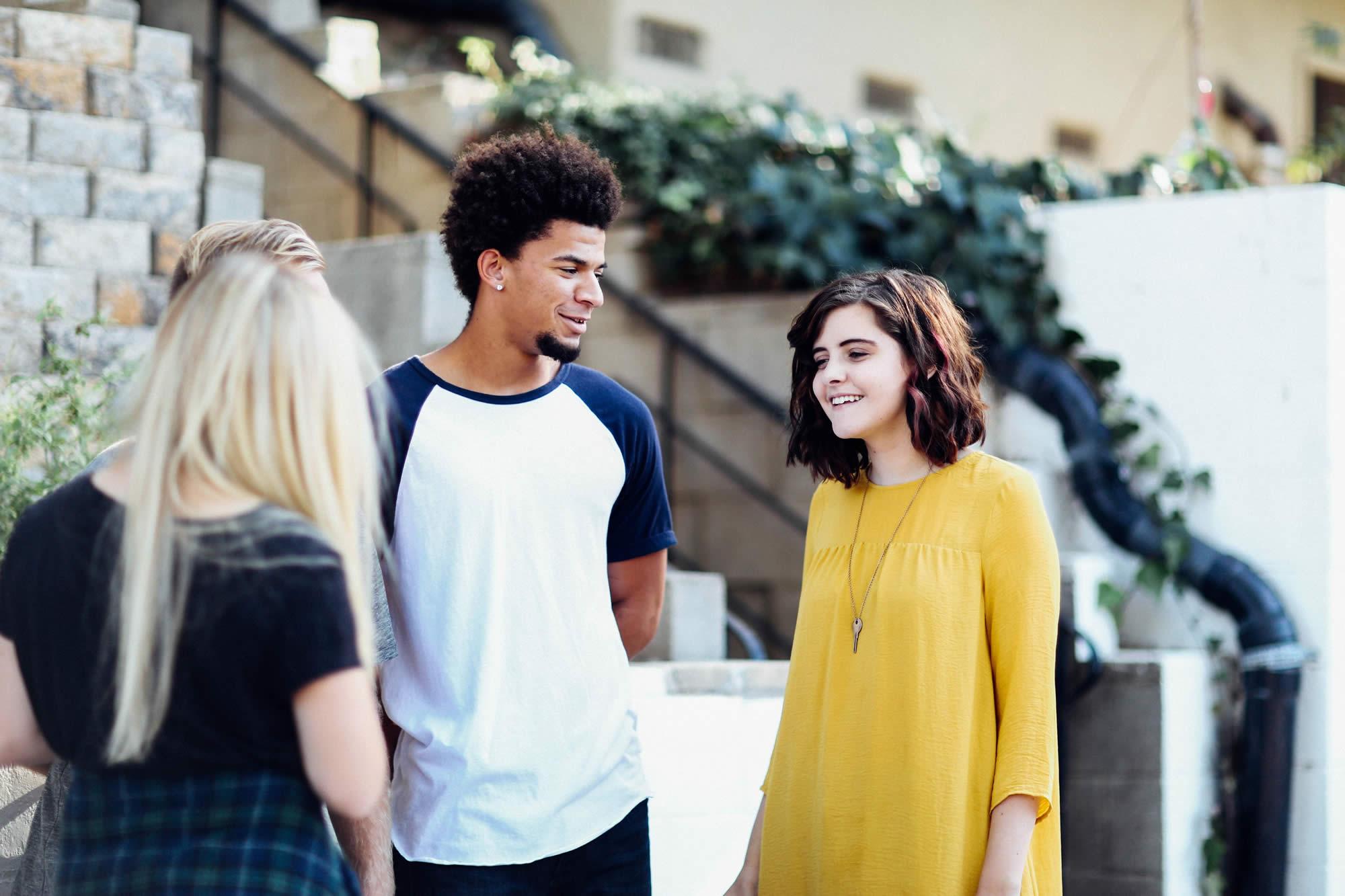 eu students chatting in uk university